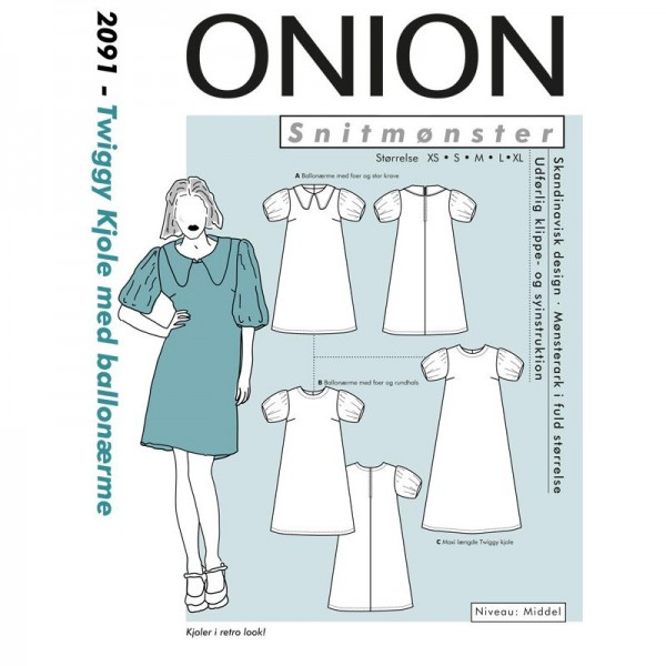 "Snitmønster Onion 2091 ""Twiggy Kjole med..."