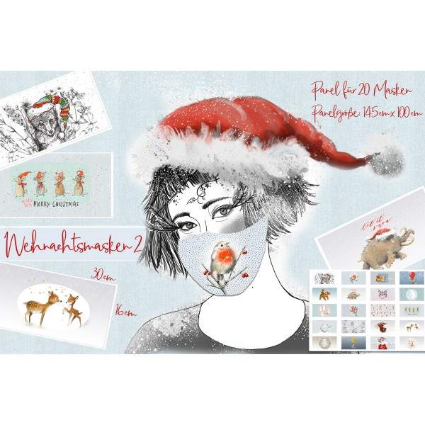"100 cm BIO-Bomuld-Panel ""Weihnachtsmasken 2"" fra Tante Gisi"
