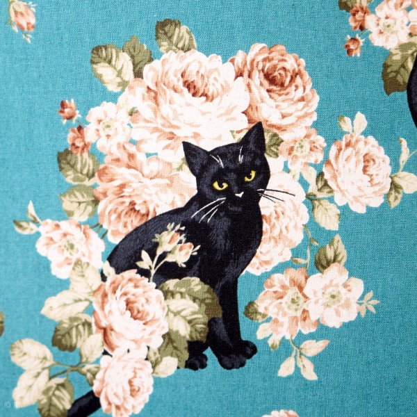 "Canvas ""Black Cats and Peonies kawaii"""