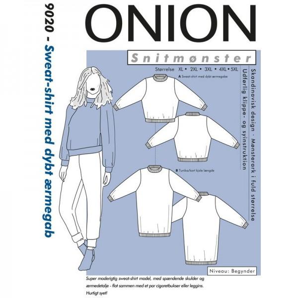 "Snitmønster Onion 9020 ""Sweat-shirt med dybt ærmegab"" str XL - 5XL"