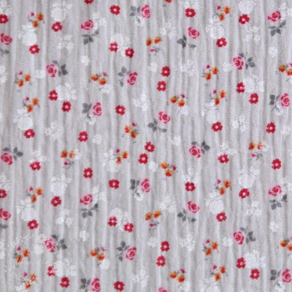 Double Gauze grå med lille blomster