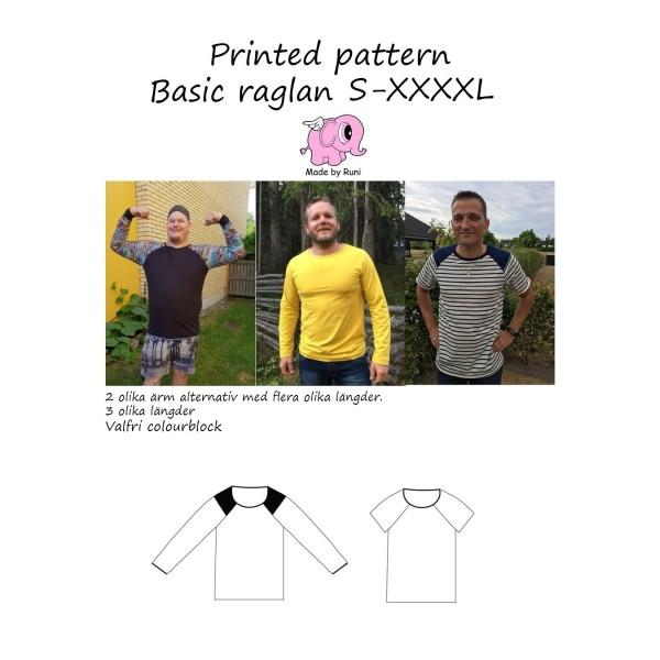 """Snitmønster til mænd """"Basic raglan Shirt"""" str S - XXXXL"""