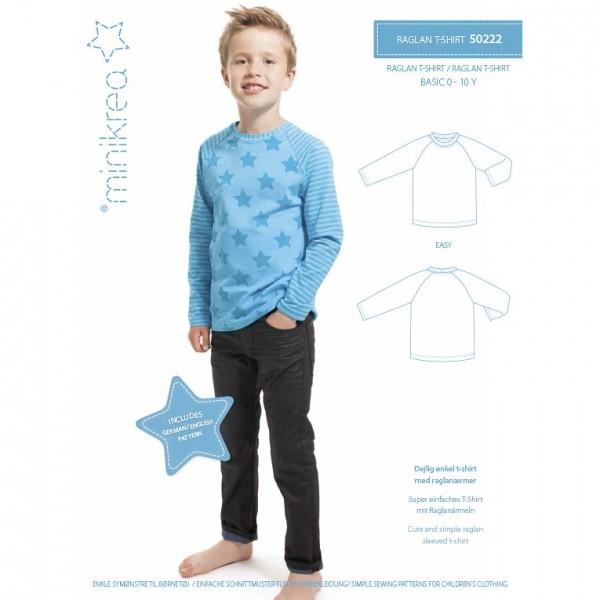 """MiniKrea Snitmønster 50222 """"Raglan T-Shirt"""" str..."""