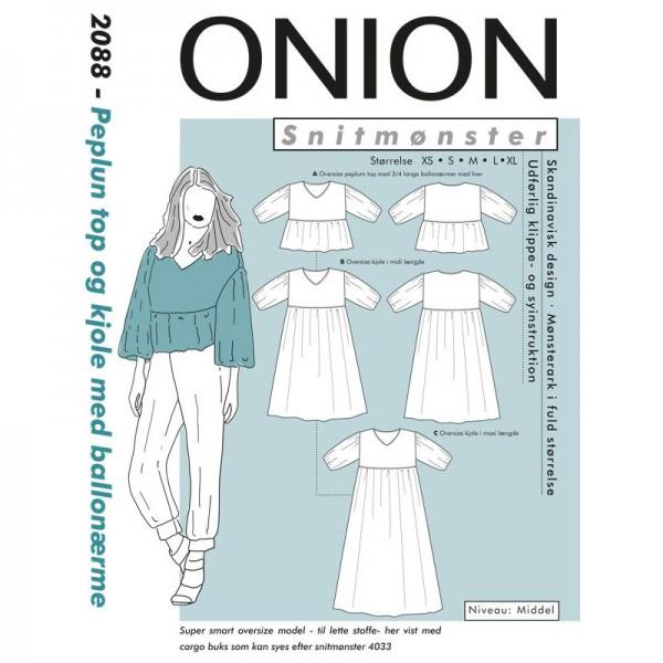 """Snitmønster Onion 2088 """"Peplum top og kjole med..."""