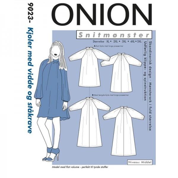"Snitmønster Onion 9023 ""Kjoler med vidde og ståkrave"" str XL - 5XL"