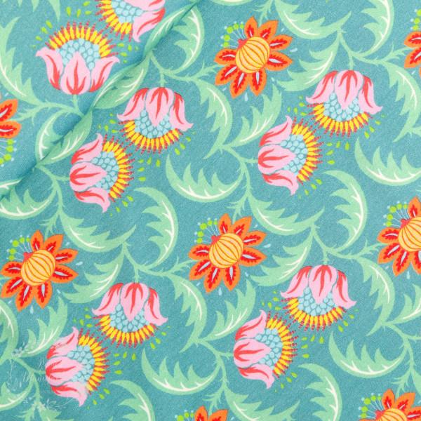 Bomuldsjersey Flora Blomsterduet grøn