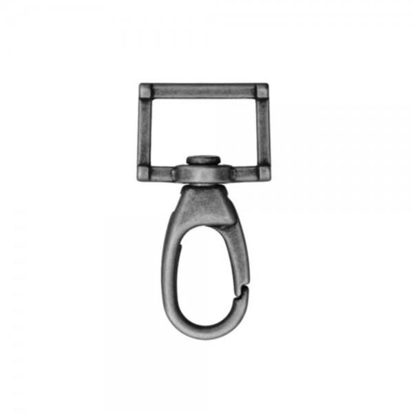 """D-Ring """"Rektangel med karabinhage"""" gunmetal 25 mm"""