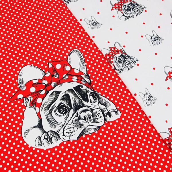 """Bomuldsjersey-Panel """"Bulldog"""" rød med hvide..."""