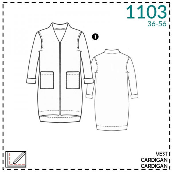"Snitmønster ""It's A fits 1103"" cardigan str 36..."