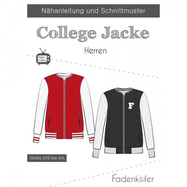 "Snitmønster Herre ""College Jacke"" str 2XS - 4 XL"