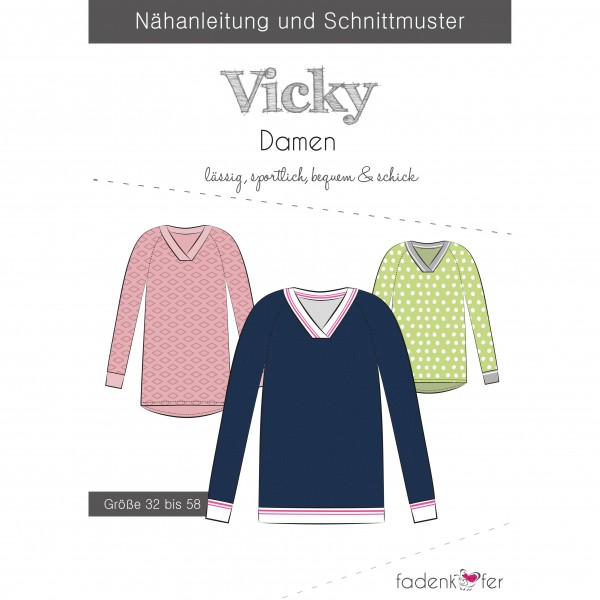 "Snitmønster Sweater ""Vicky"" Dame str 32 - 58"