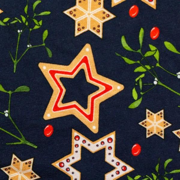 "Bomuldsjersey ""Feliz Navidad"" Cookies & Mistletoe"