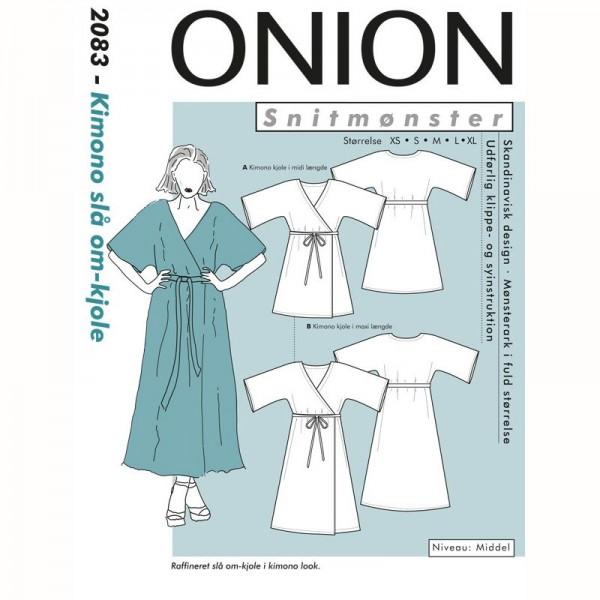"""Snitmønster Onion 2083 """"Kimono slå om-Kjole"""" str XS - XL"""