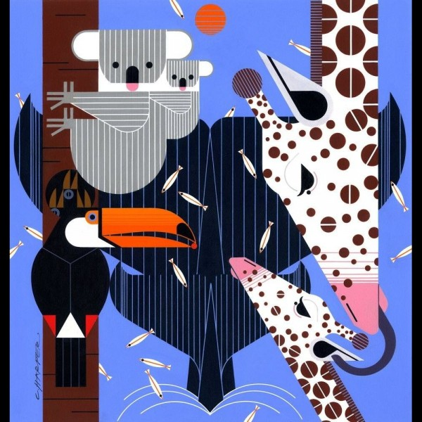 "BIO-Canvas ""Charley Harpers Zoo Babys"" fra Birch Fabrics"