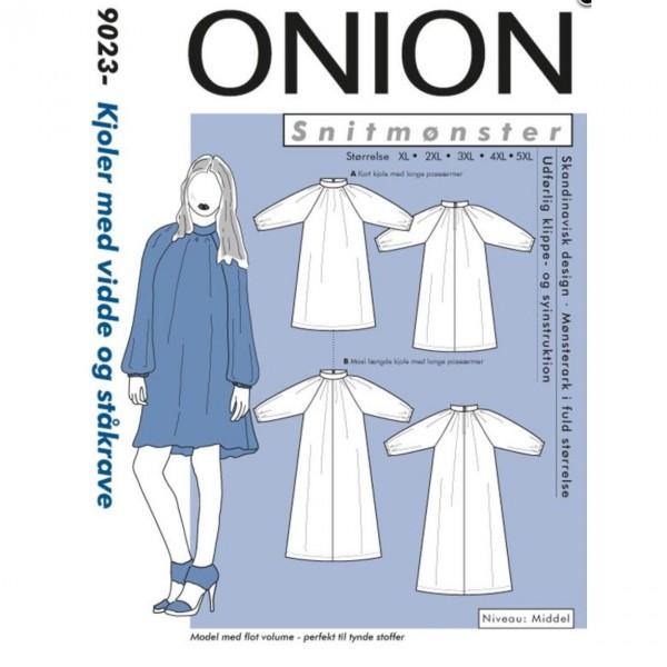 "Snitmønster Onion 9023 ""Kjoler med vidde og ståkrave"" str XL - 5 XL"