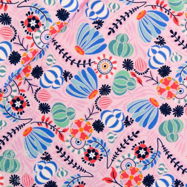 "Bomuldsjersey ""Flora Blomsterbed"" lyserød"