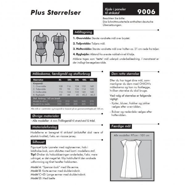 """Snitmønster Onion 9006 """"Kjole i paneler til stikstof"""" Plus-størrelser"""" str XL - 5 XL"""