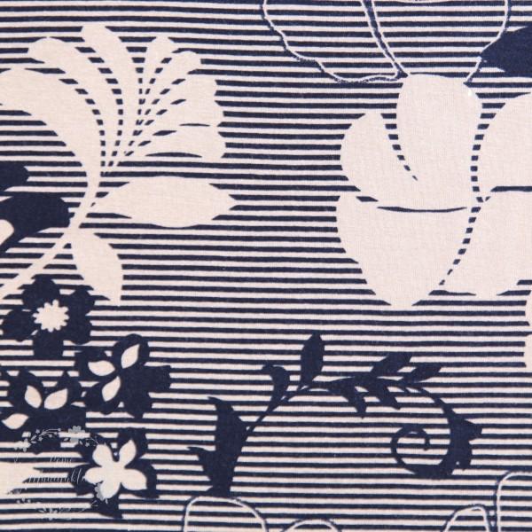 Slub-Jersey med blomster og striber
