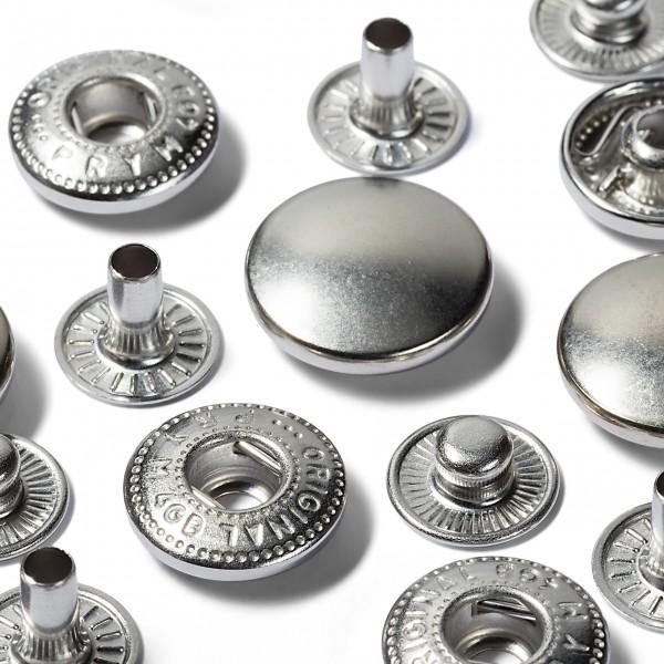 10 Anorak Trykknapper Ø 15 mm sølv - Refil