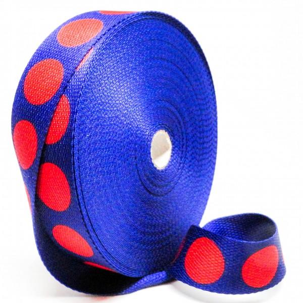 Gjordbånd blå med store rød prikker