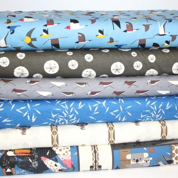 "100 cm BIO-Interlock-Bomuldsjersey ""Charley Harper Maritime Knits"" fra Birch Fabrics"
