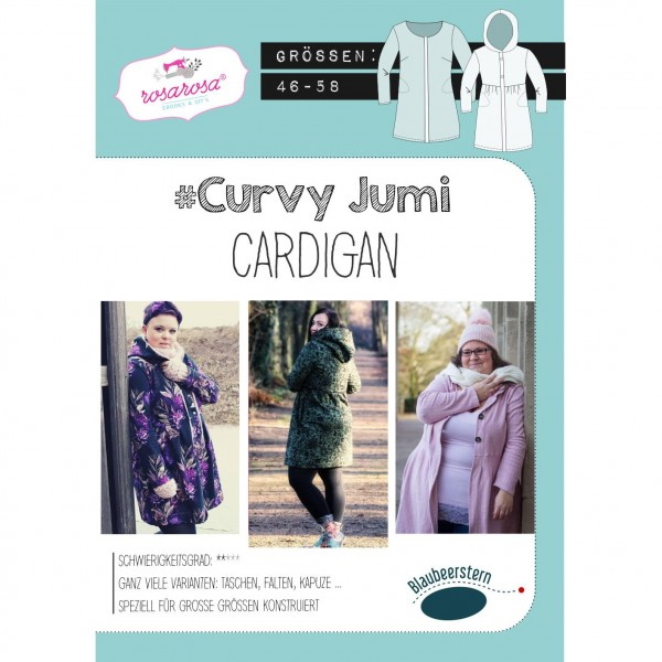 "Snitmønster Dame-Cardigan ""Curvy Jumi"" str 46 - 58"