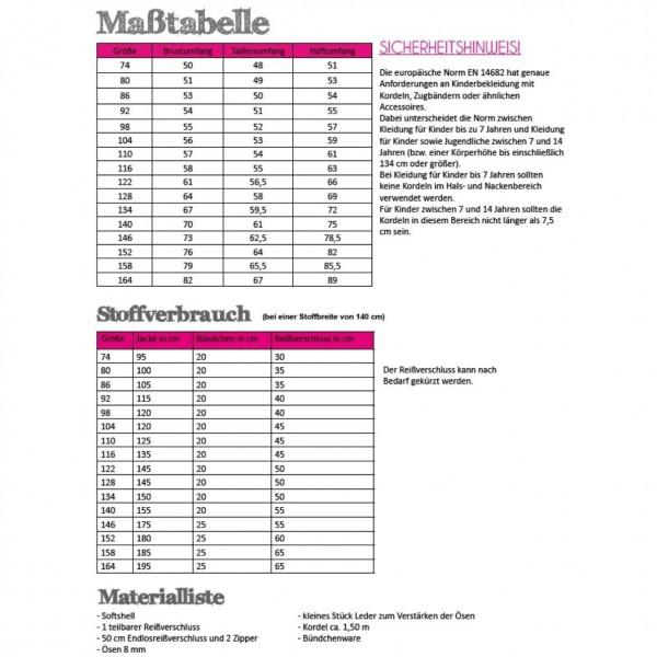 Snitmønster Kids-Softshell-Jakke str 74 - 164