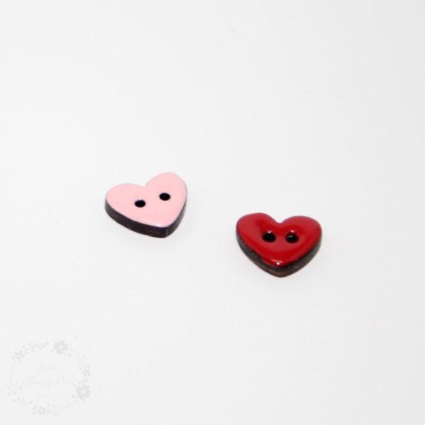 "2-hul-kokos-knap kollektion ""Hjerter"" (15 mm)"