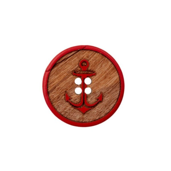 "4-hul-træ-knap ""Anker"" rød"