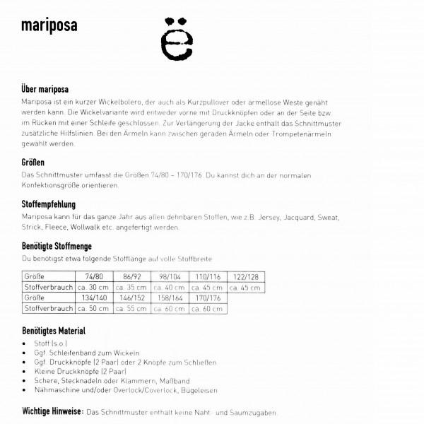"Snitmønster Børns-Jakke ""Mariposa"" str 74/80 - 170-176"