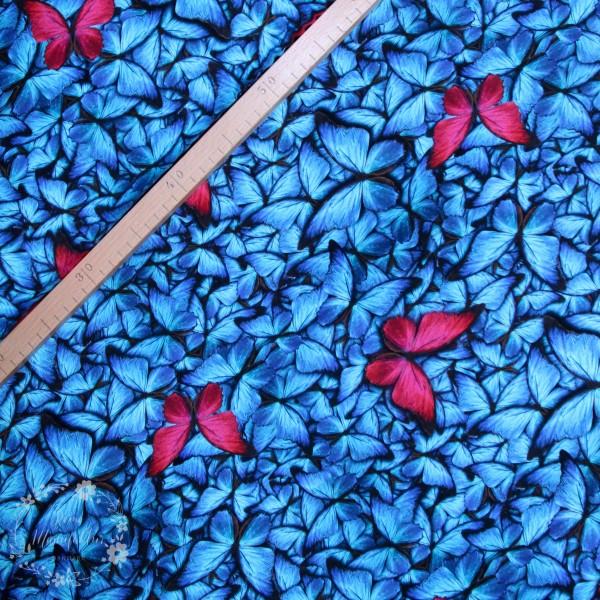 Bomuldsjersey Sommerfugl blå