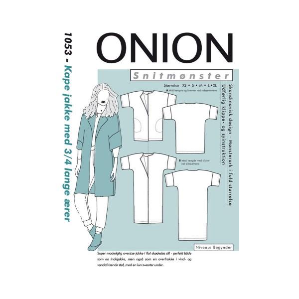 """Snitmønster Onion 1053 """"Kape jakke med 3/4..."""