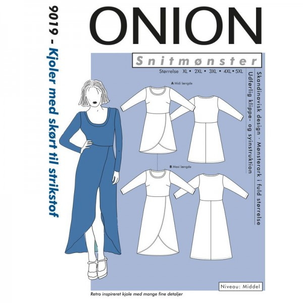 "Snitmønster Onion 9019 ""Kjole med skørt til strikstof"" str XL - 5 XL"