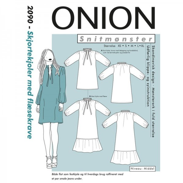 """Snitmønster Onion 2090 """"Skjortekjoler med..."""