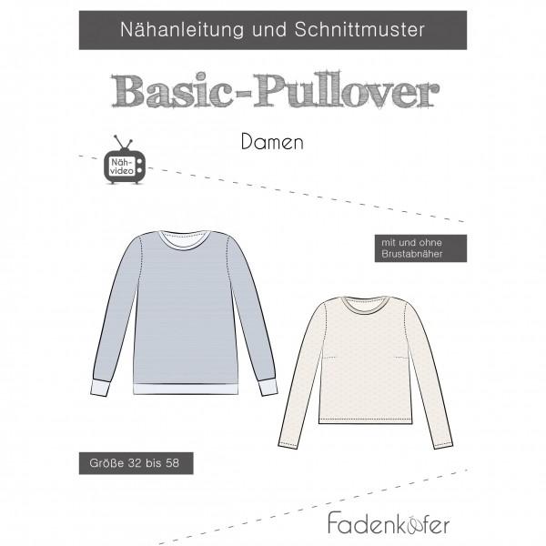 "Snitmønster Dame-Trøje ""Basic-Pullover"" str 32..."