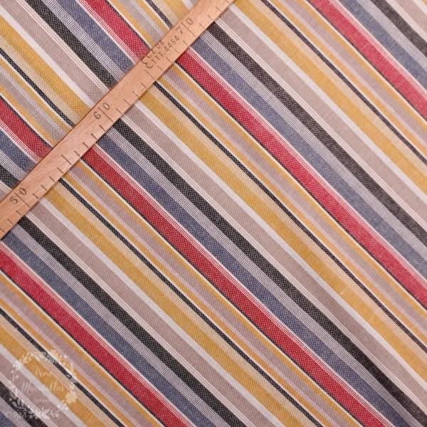 Hør-Viscose-Mix med farvede striber