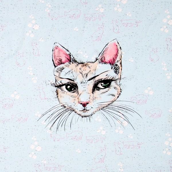 "70 cm BIO-Bomuldsjersey ""Mademoiselle Chat"""