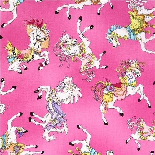 """Bomuld """"Carousel"""" karrusel heste pink by Loralie"""