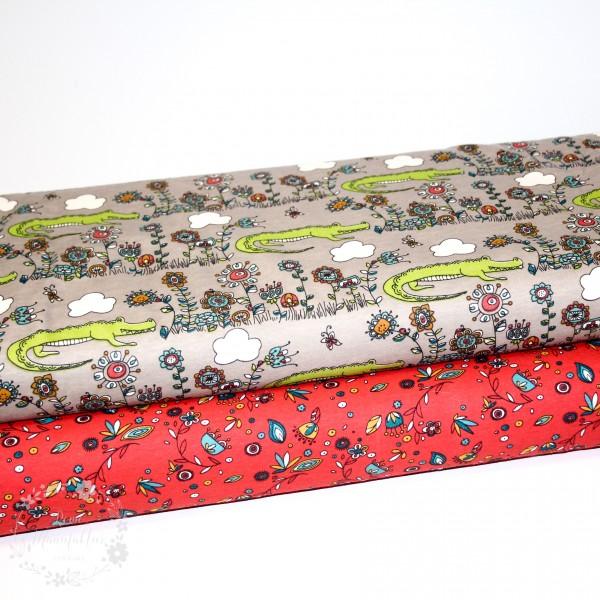 "BIO-Bomuldsjersey Birch ""Picnic Whimsy Knit"""