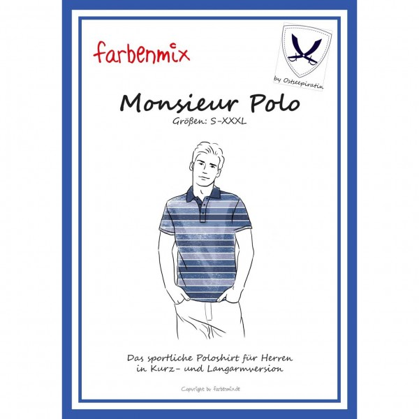 "Snitmønster Farbenmix ""Monsieur Polo"" str S - XXXL"