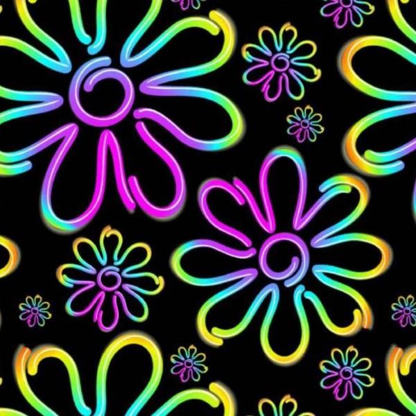 "Bomuldsjersey ""Neon Blomster"""
