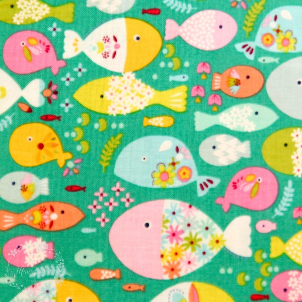 """Bomuld """"Go Fish"""" Swimming With The Fishes turkis"""