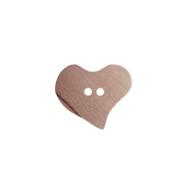 """2-hul-knap fra oliventræ """"Hjerte"""" Ø 24 mm"""