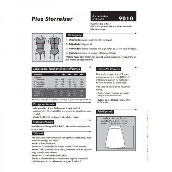 "Snitmønster Onion 9010 ""Nederdele til stikstof"" str XL - 5 XL"