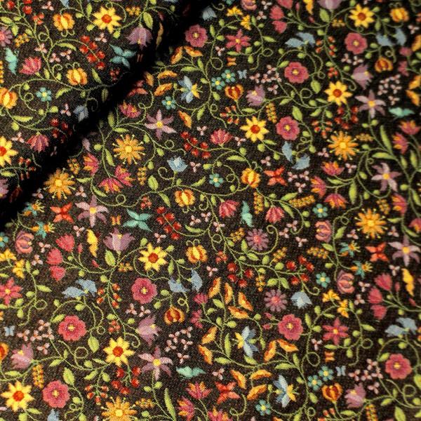Gobelin sort med blomster