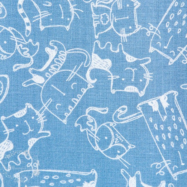 """Bomuld """"Cats Meow"""" 12457-dk-blue"""