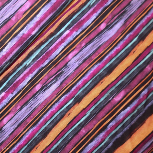 Vicosejersey med farverige striber