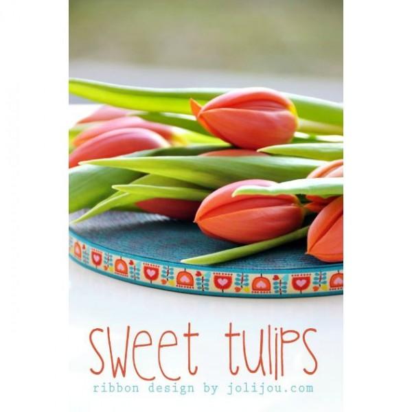 "Vævet bånd ""Sweet Tulips"" 12 mm by Jolijou"
