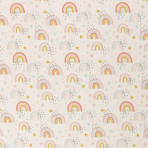 """Bomuldsjersey """"Jesse"""" hvid med regnbue"""