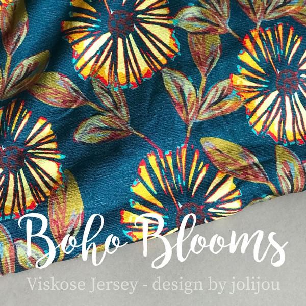 "Designer-Viscosejersey ""Boho Blooms"" by jolijou"